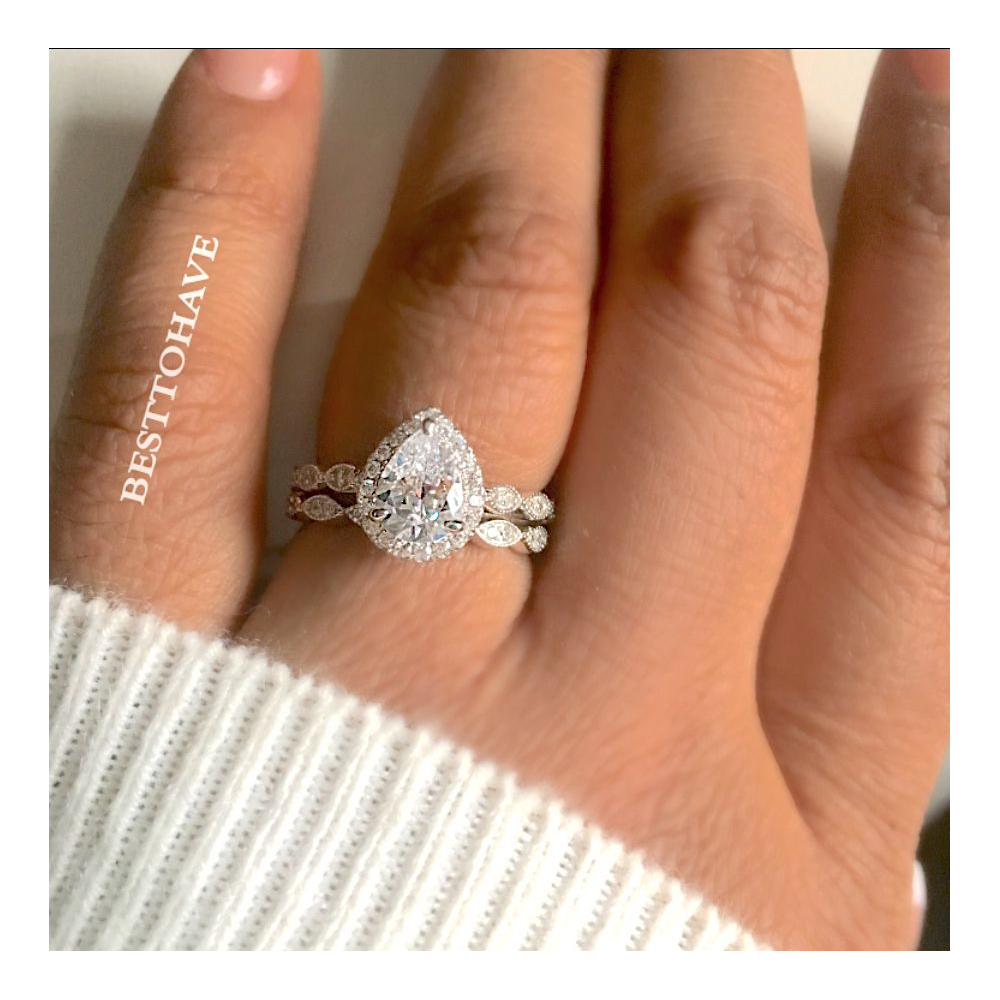True Love 925 Silver Halo Teardrop Wedding Engagement Ring Set