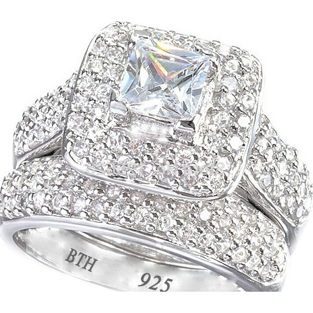 925 Sterling Silver Halo Princess Cut Cubic Zirconia Ring Set