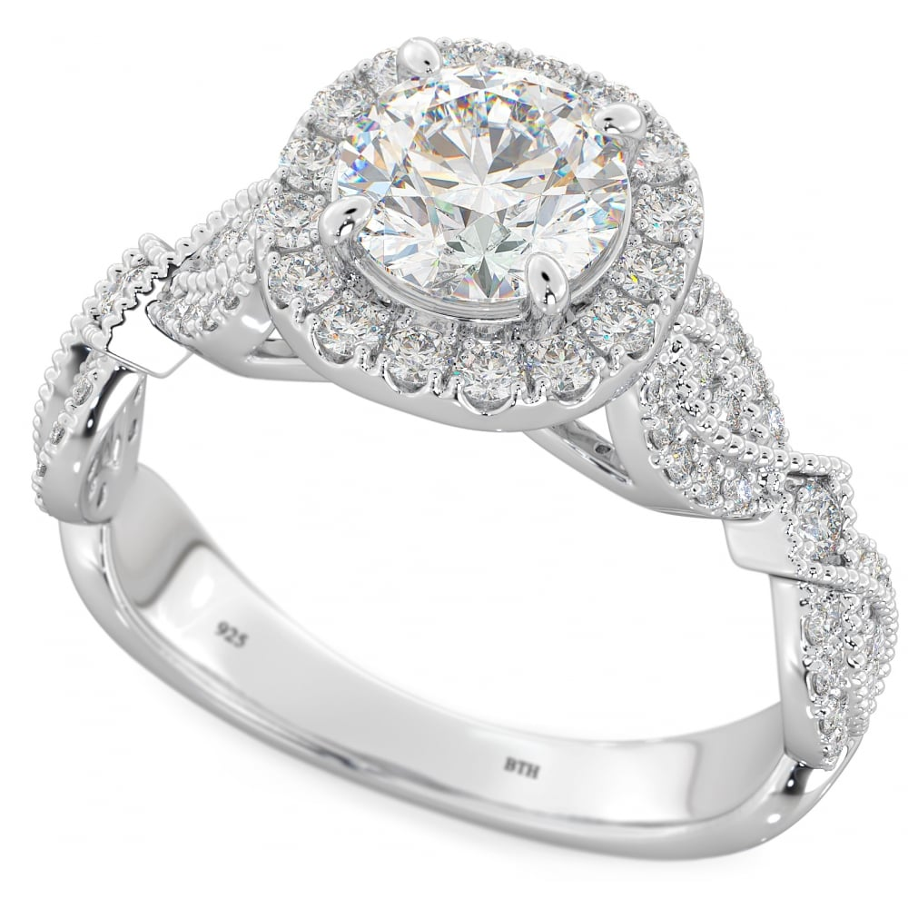 f256216ab91ed 925 Sterling Silver Halo Ring with Round Cut Cubic Zirconia