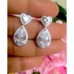 925 Sterling Silver Heart Cubic Zirconia Drop Earrings