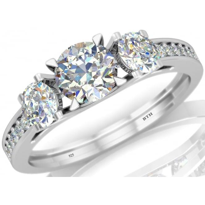 925 Sterling Silver Ladies 3 stone Dazzling Cubic Zirconia Ring