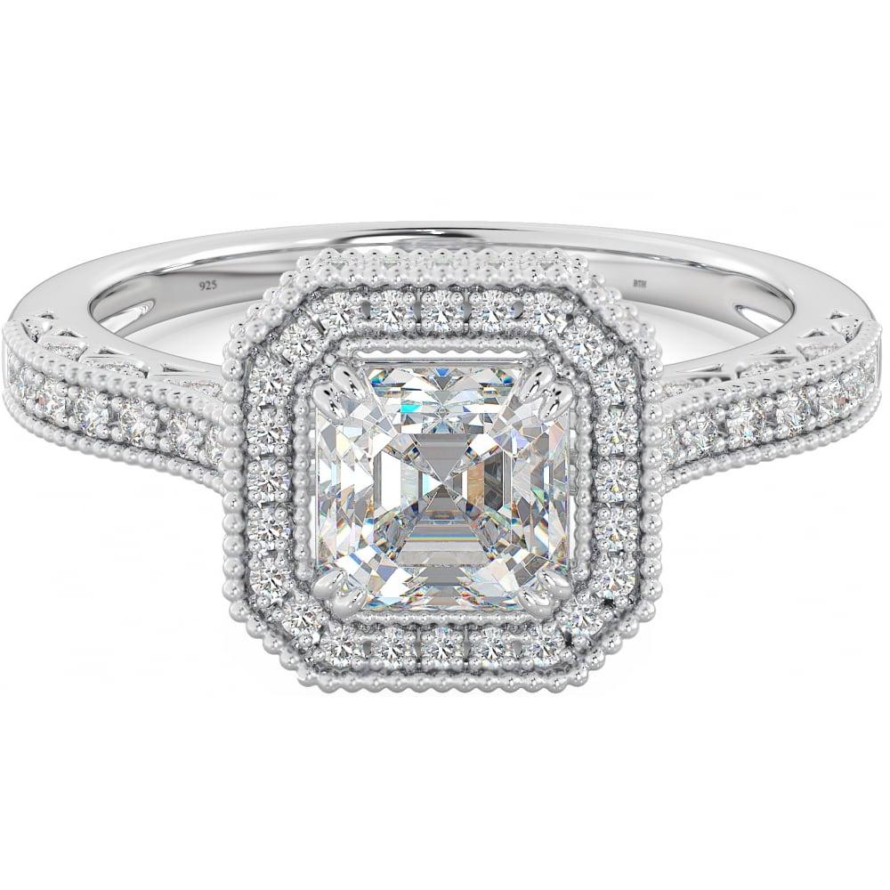 55dc5e5dd9c23 925 Sterling Silver Ladies Asscher Cubic Zirconia Ring