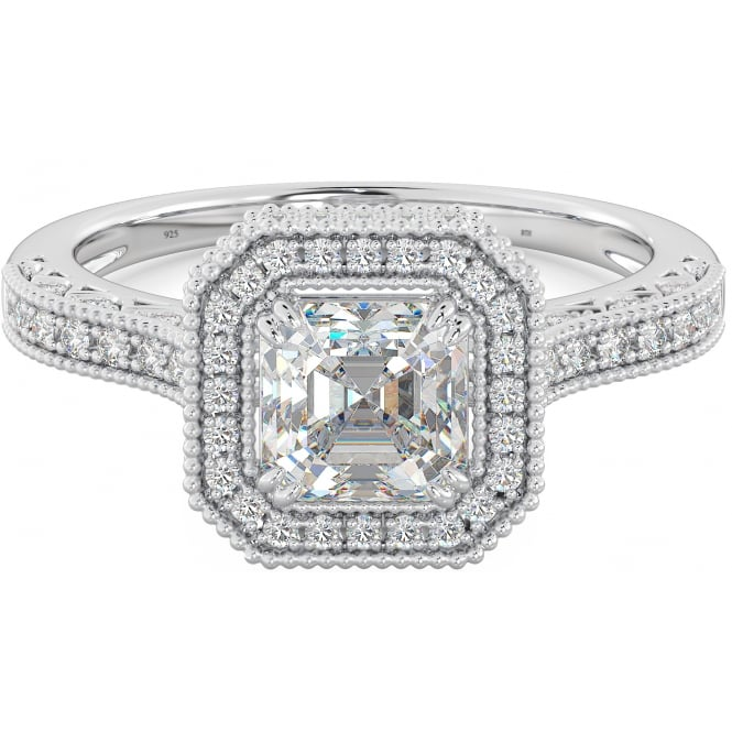 925 Sterling Silver Ladies Asscher Cubic Zirconia Ring