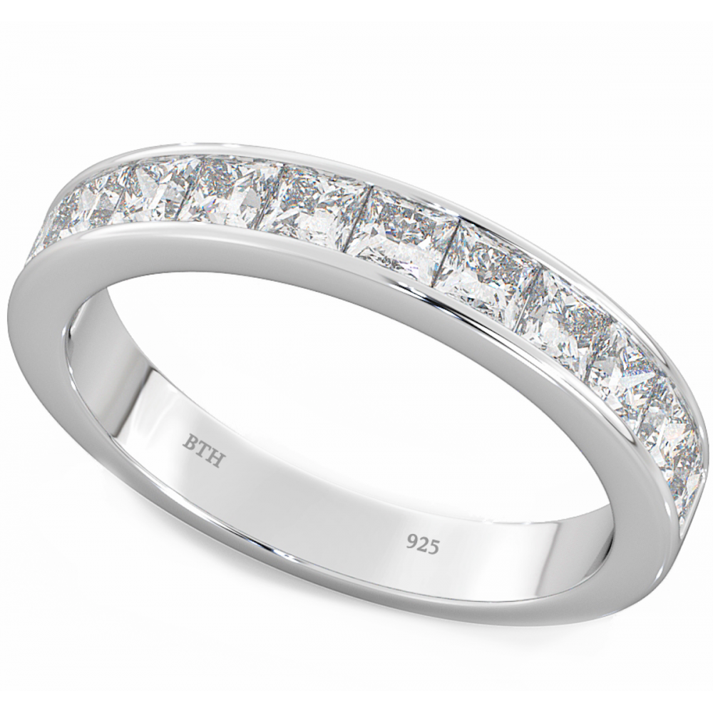 Eternity Ring Wedding Set: 925 Silver Ladies Channel Set Half Eternity Wedding