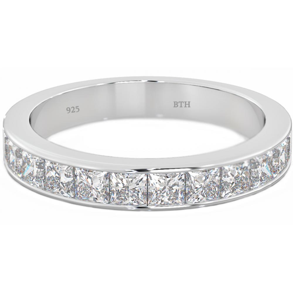 925 Silver Ladies Channel Set Half Eternity Wedding Engagement Ring