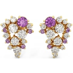 925 Sterling Silver Ladies Created Amethyst and Cubic Zirconia Earrings
