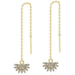 925 Sterling Silver Ladies Cubic Zirconia Gold Tone Chain Fan Earring
