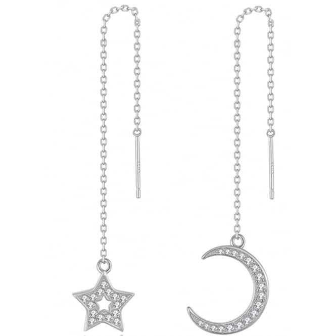 925 Sterling Silver Ladies Cubic Zirconia Moon And Star Chain Earring