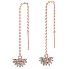 925 Sterling Silver Ladies Half Daisy Cubic Zirconia Rose Gold Tone Chain Earring