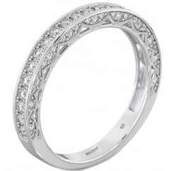 925 Sterling Silver Ladies Half Eternity Vintage Style Wedding Band Ring