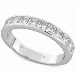 925 Sterling Silver Ladies Half Eternity Wedding Engagement Band Ring