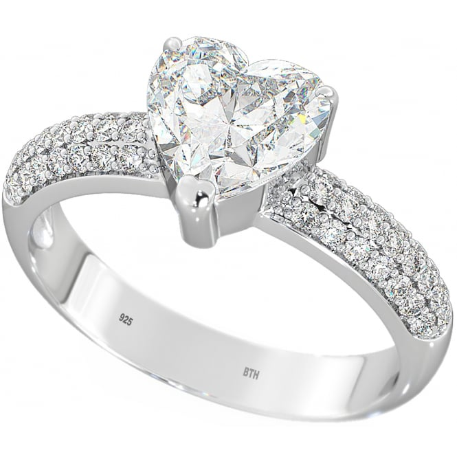 925 Sterling Silver Ladies HEART Cut Engagement Band Ring