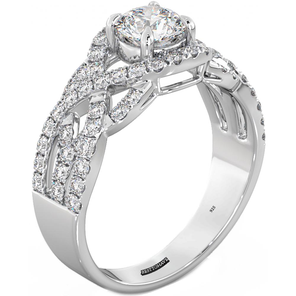 925 sterling silver ladies luxury wedding engagement round. Black Bedroom Furniture Sets. Home Design Ideas