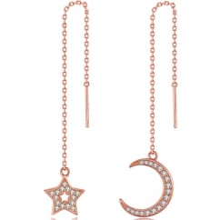 925 Sterling Silver Ladies Moon And Star Cubic Zirconia Rose Gold Tone Chain Earring