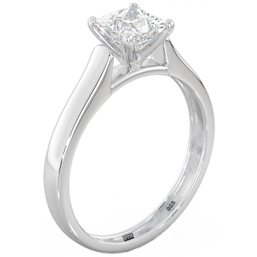 Sterling Silver Ladies Princess Cut Solitaire Wedding Engagement ...