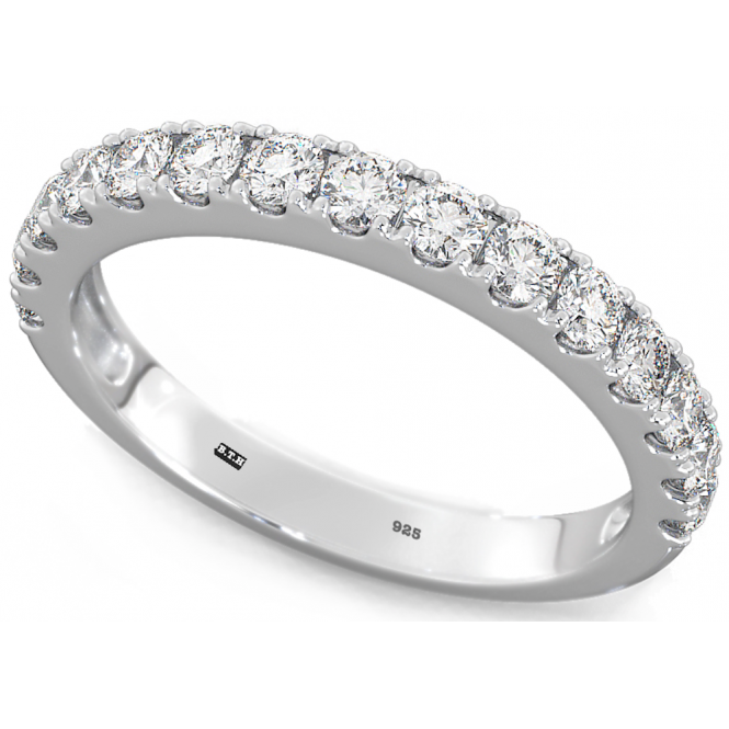 925 Sterling Silver Ladies Round Cut Half ETERNITY Wedding Band Ring