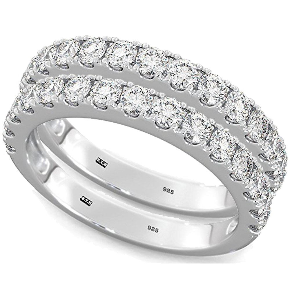 925 Sterling Silver Ladies Round Cut Half ETERNITY Wedding Band Ring Set