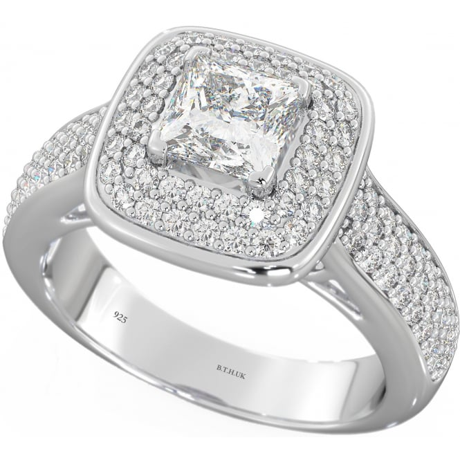 925 Sterling Silver Ladies Simulated Diamond CZ Halo Engagement Band Ring
