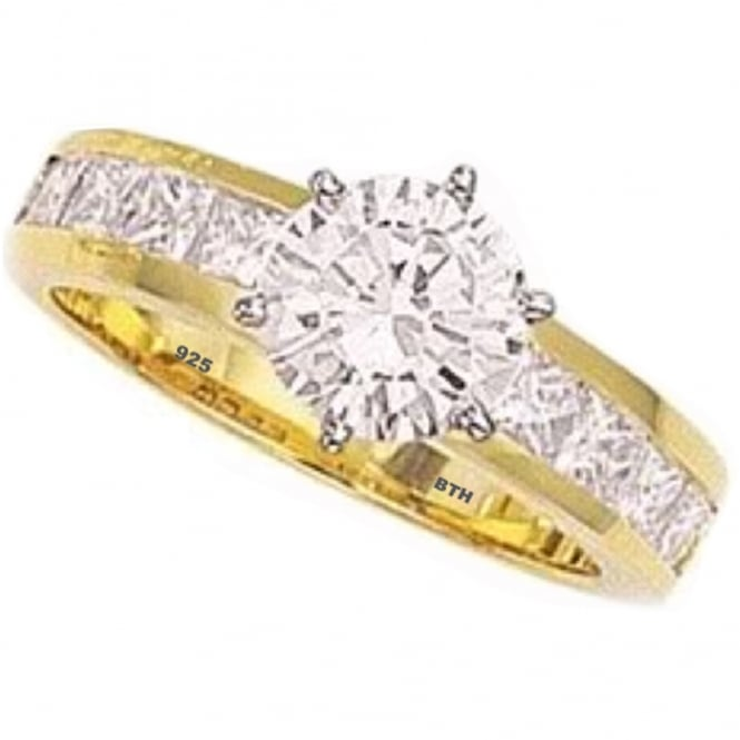 925 Sterling Silver Ladies Simulated Diamonds Cz Classic Gold gp Wedding Band Engagement Ring