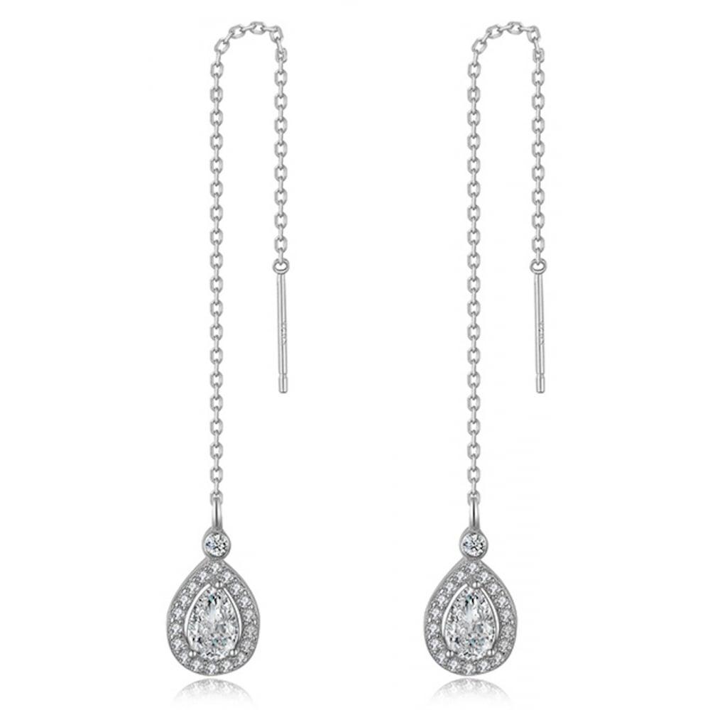 925 Sterling Silver Las Teardrop Cubic Zirconia Chain Earring