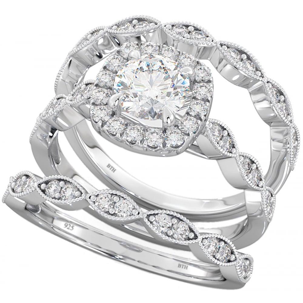 925 Sterling Silver Halo Design Wedding Engagement Bridal 3 Ring Set