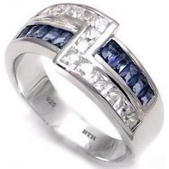925 Sterling Silver Mens Created Blue Sapphire Wedding Engagement Band Ring