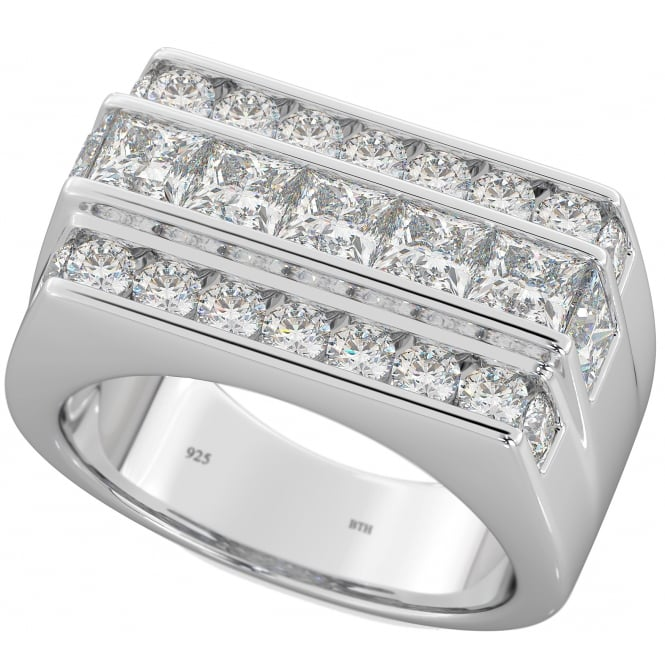 925 Sterling Silver Mens CZ Wedding Engagement Band Ring