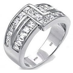 925 Sterling Silver Mens Luxury Simulated Diamonds Wedding Engagement Fashion Band Ring