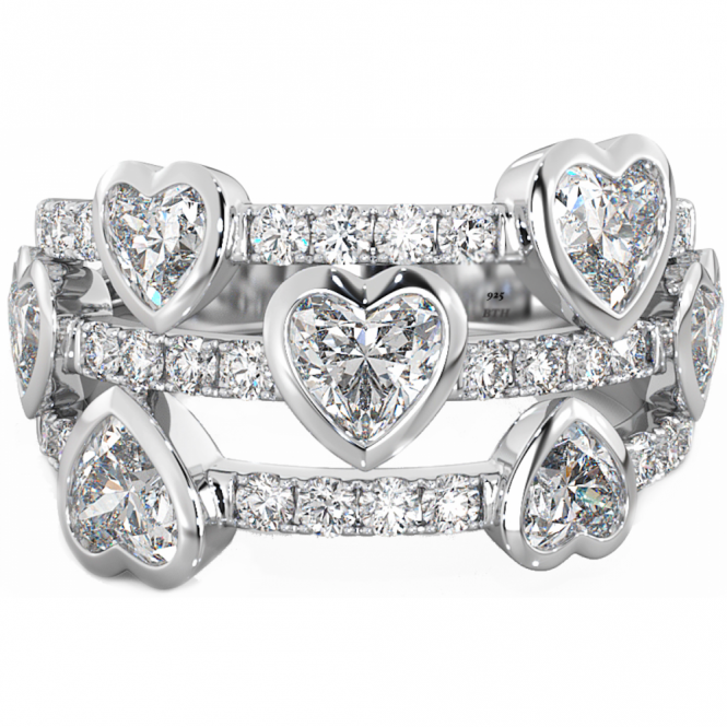 925 Sterling Silver Multi-Strand Brilliant Cut Heart CZ Ladies Ring
