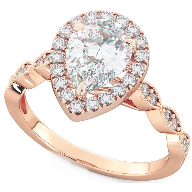 925 Sterling Silver Pear Cut Rose Gold Tone Engagement Ring