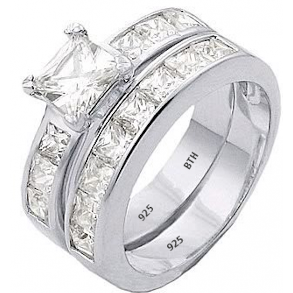 925 Sterling Silver Channel Band Wedding Engagement Ring Set