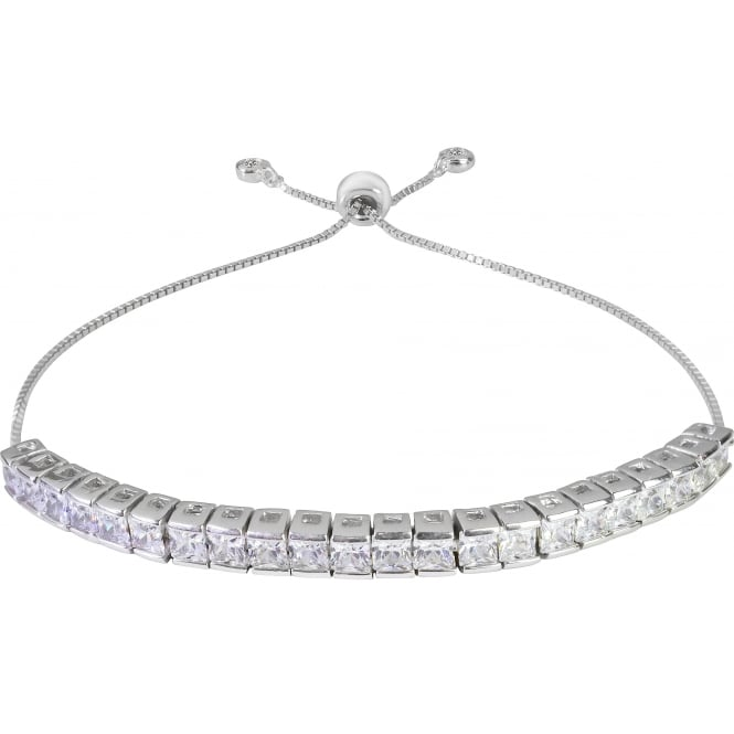 925 Sterling Silver Princess Cut Dazzling Cubic Zirconia Adjustable Tennis Bracelet