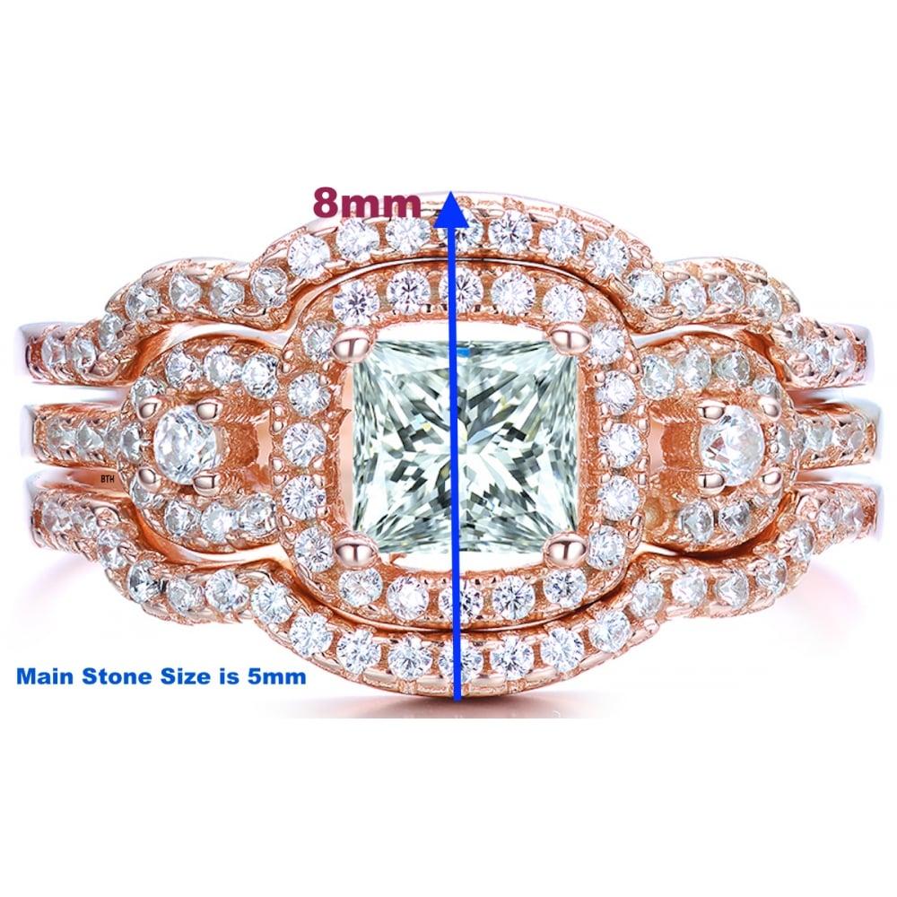 27560208253f0 925 Sterling Silver Princess Cut Rose Gold Tone Wedding Engagement Ring Set