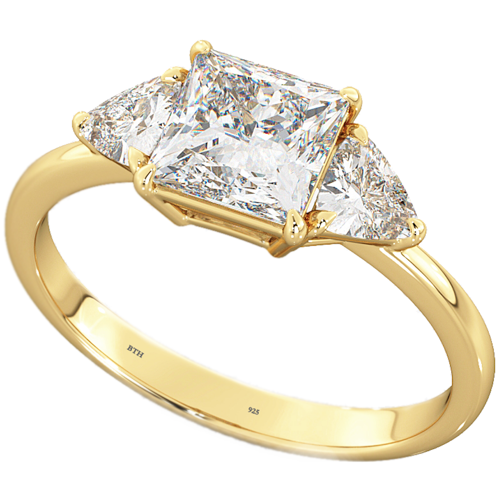 one carat rhombus on cut trillion rings engagement products diamond ring hand yellow fancy