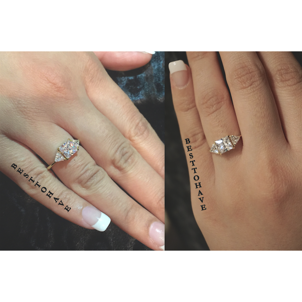 Trillion Cut 3 Stone Cubic Zirconia Engagement Ring