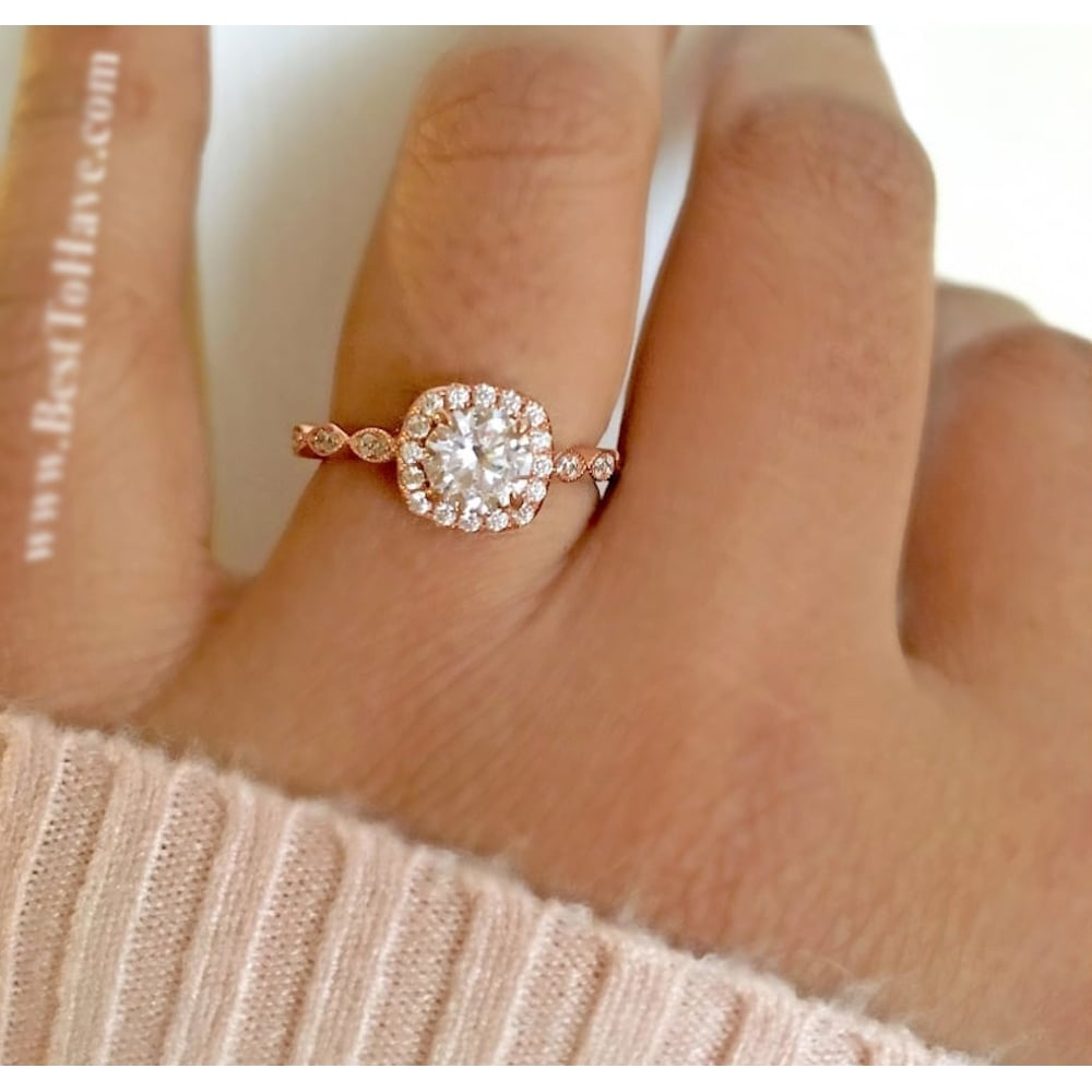 Ladies Ring-925 Sterling Silver Rose Gold Tone Halo Design Teardrop/Pear Cut Wedding Engagement Ring AwH5TDC0OC