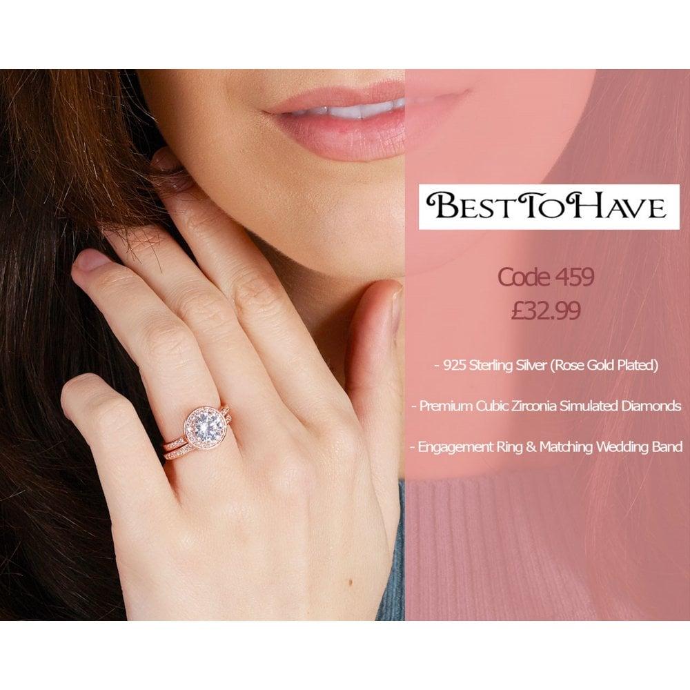 925 Sterling Silver Rose Gold Engagement Rings Set Besttohave
