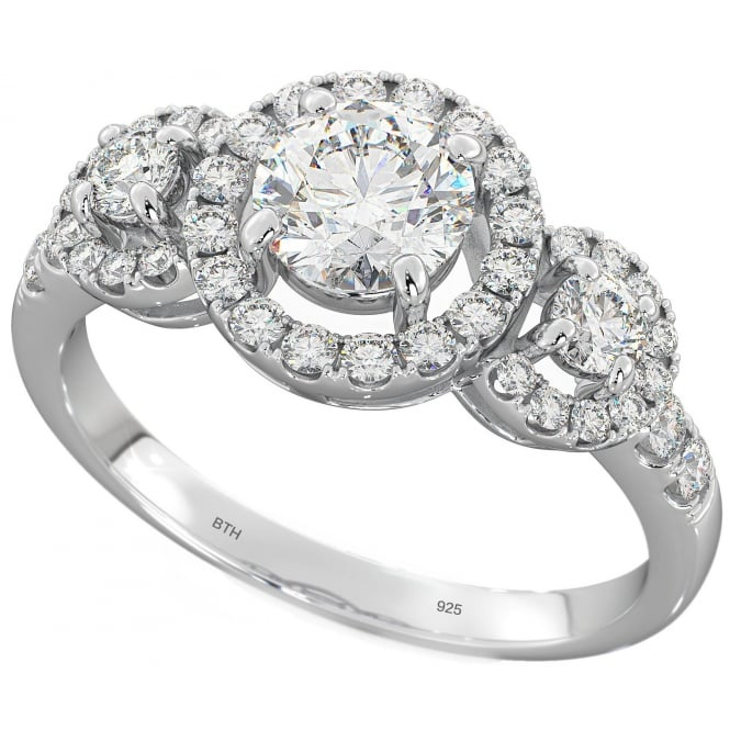925 Sterling Silver Round Cluster 3 stone Wedding Engagement Ring