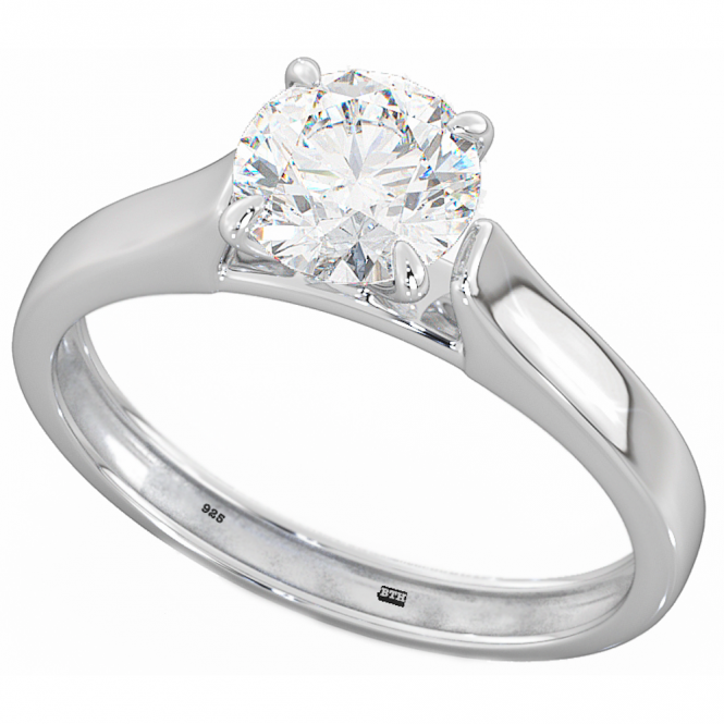 925 Sterling Silver Round Cubic Zirconia CZ Solitaire Wedding Engagement Ring