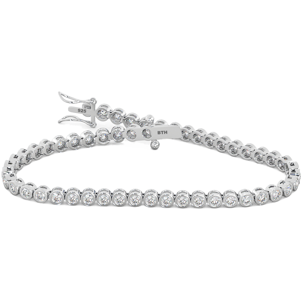 925 Sterling Silver Round Simulated Diamond CZ Luxury Tennis Bracelet 7 Inches
