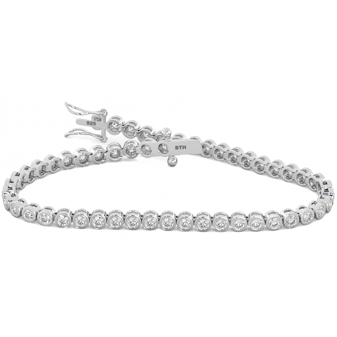 925 Sterling Silver Round Cubic Zirconia Tennis Basel Bracelet -7 inches