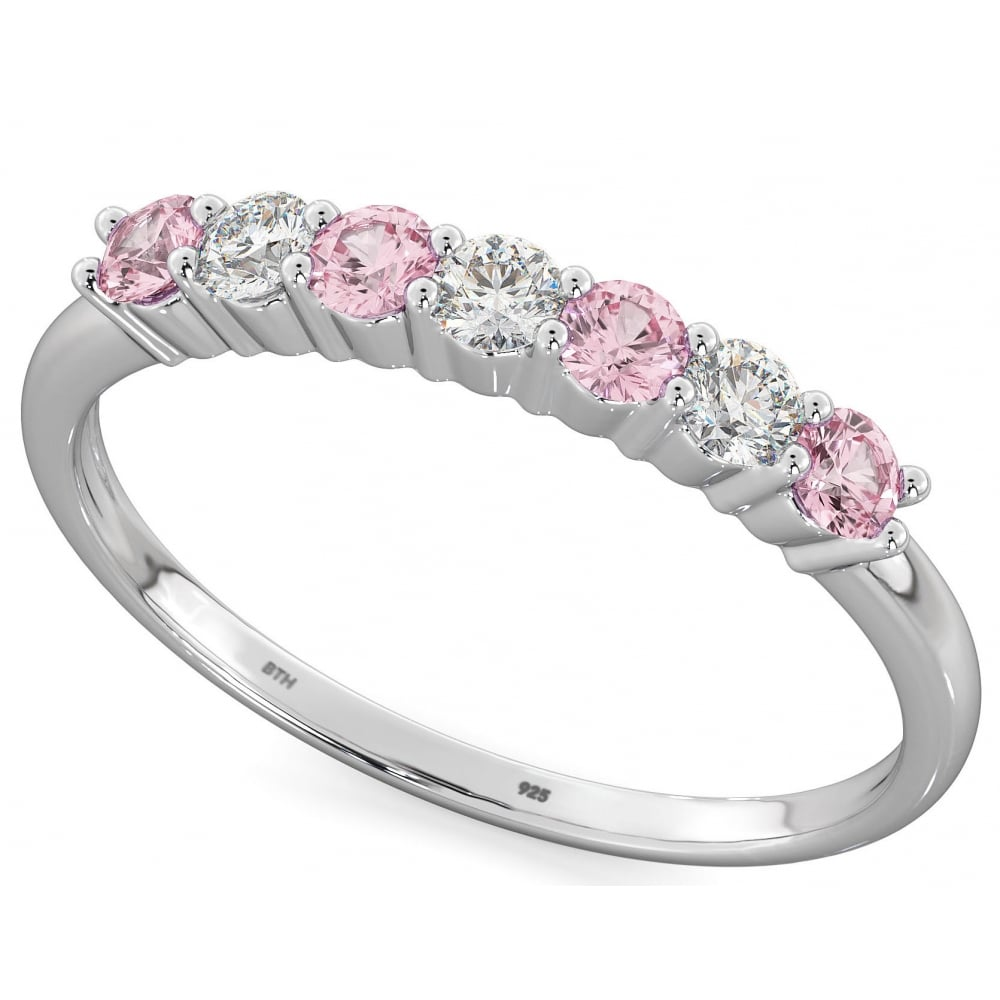 925 Sterling Silver Round Cut Pink Shire Cz Half Eternity Wedding Band Ring