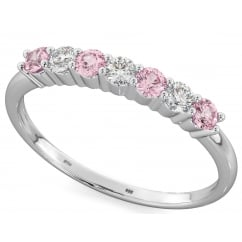 925 Sterling Silver Round Cut Pink Sapphire CZ Half Eternity Wedding Band Ring