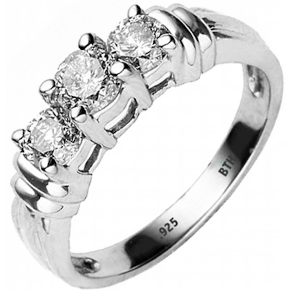 925 silver round simulated diamonds cz 3 stones engagement. Black Bedroom Furniture Sets. Home Design Ideas