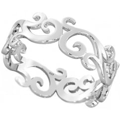 925 Sterling Silver Sterling Silver Royal Cutout Filigree Band Ring