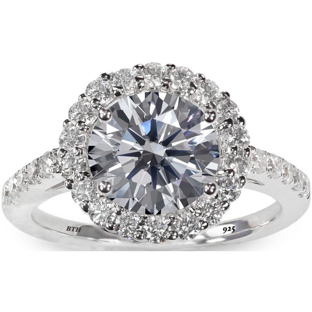 925 Sterling Silver Dazzling Round-Cut Simulated Diamond Stunning Wedding Engagement Bridal Ring BF7KhI