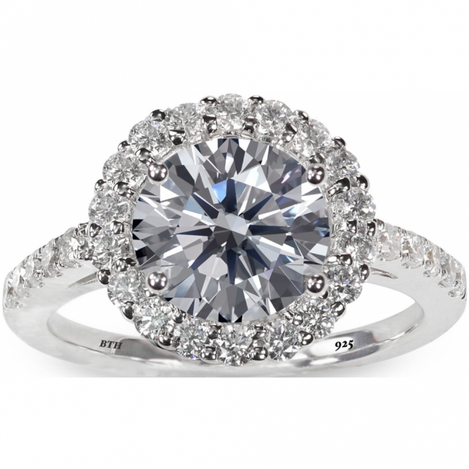 925 Sterling Silver Stunning Round-Cut Simulated Diamond Luxury Wedding Engagement Bridal Ring