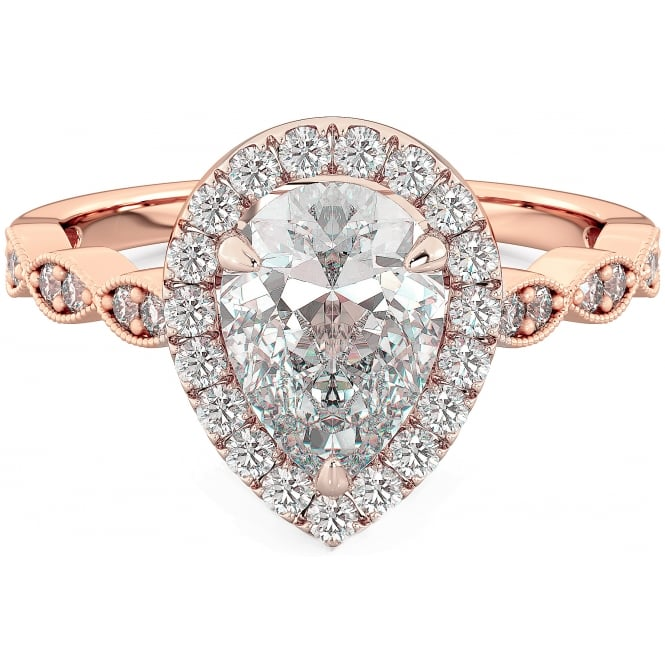 925 Sterling Silver Tear Drop/Pear Cut Rose Gold Tone Engagement Ring