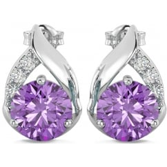 925 Sterling Silver Teardrop 4.2 Carats Amethyst Earrings