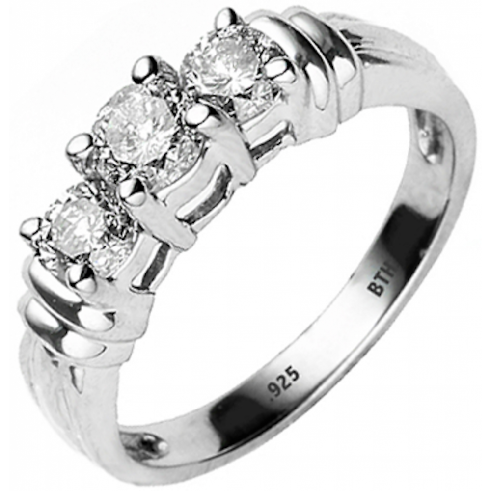 Sterling Silver Ring and Zirconia N 3